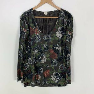 Wilfred Olive Green Floral Ruched Long Sleeve Top